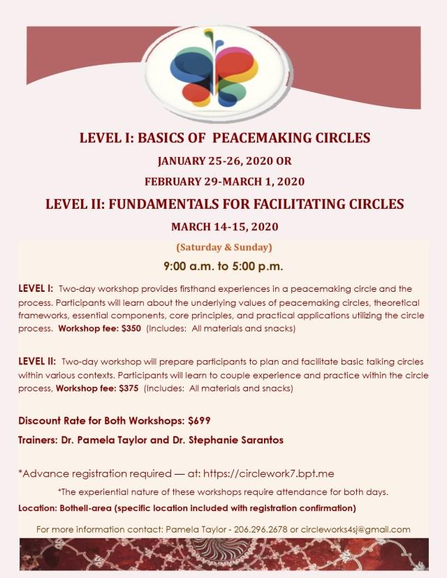 LEVEL I and II PEACEMAKING CIRCLE TRAINING 2020