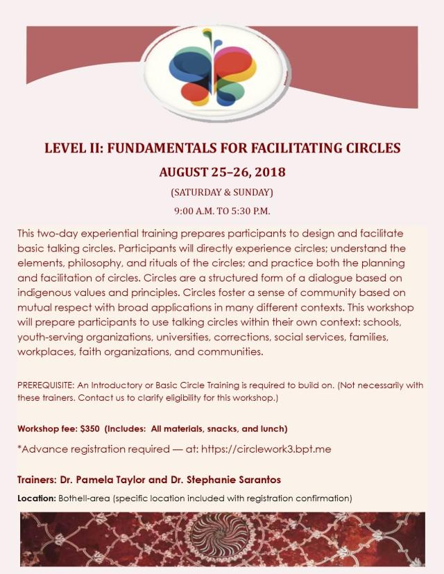 LEVEL II FACILITATING PEACEMAKING CIRCLE WORKSHOP