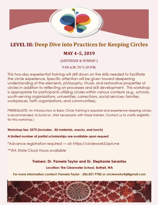 LEVEL III DeepDivePEACEMAKING CIRCLE WORKSHOP