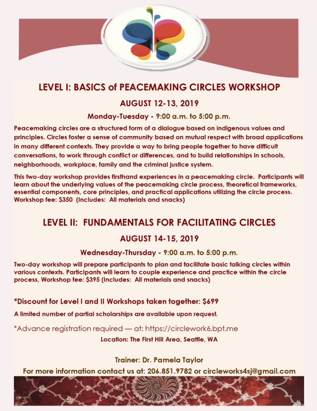 2019 LEVEL I and II PEACEMAKING CIRCLE TRAINING 8.19